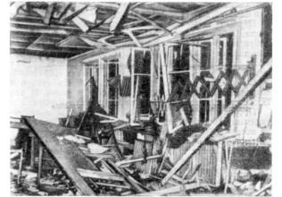 Помещение, в котором происходило совещание 20 июля 1944 г.,  после взрыва.