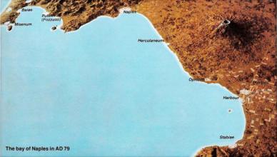Карта Неаполитанского залива и древних городов в 79 г. н.э.